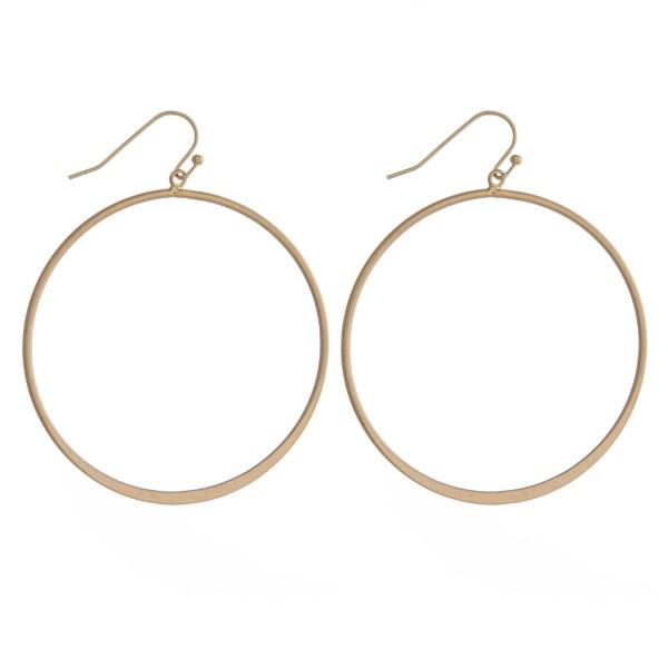 """Metal, fishhook earring with drop hoop. Approximately 2"""" in diameter."""