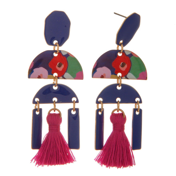 """Gold tone, post earring with geometric design and tassel accent. Approximately 2.5"""" in length."""