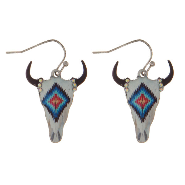 """Silver tone, fishhook earring with steer head pendant. Approximately 1.5"""" in length."""