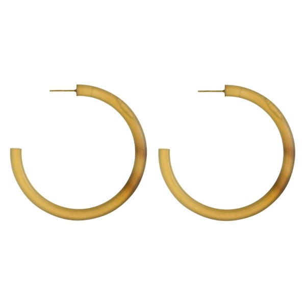 "Gold tone hoop earring made with natural shell. Approximately 2"" in diameter."