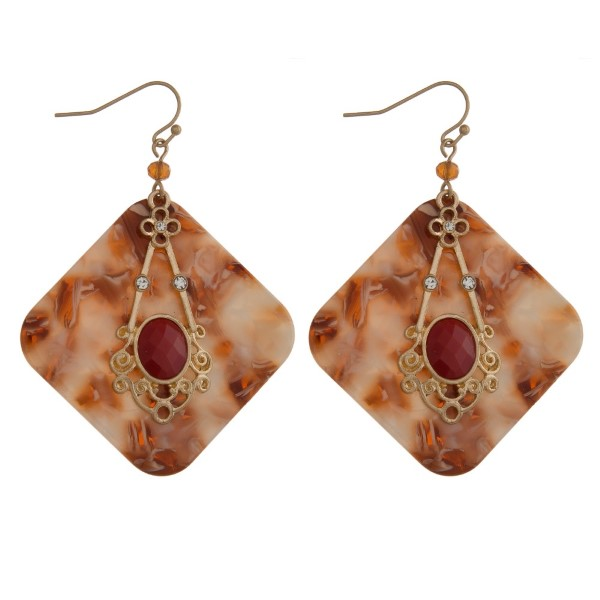 """Gold tone, post earring with rhinestone detail and acetate accents. Approximately 2"""" in length."""