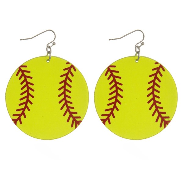 """Metal fishhook earring with softball printed leather earring. Approximately 2"""" in diameter."""