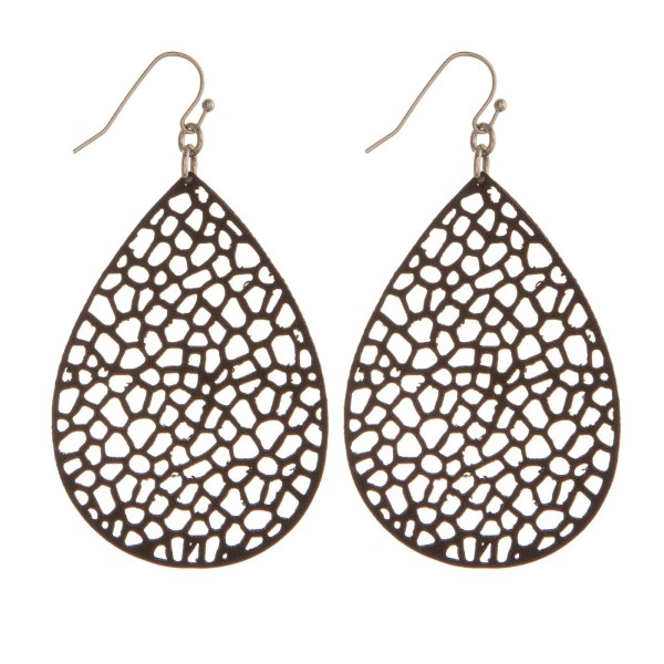 "Silver tone fishhook earring with faux leather teardrop shape. Approximately 2"" in length."