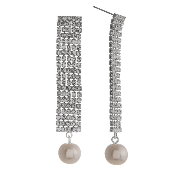"""Stud earring with long rhinestone detailed bar accented with a pearl. Approximately 2"""" in length."""