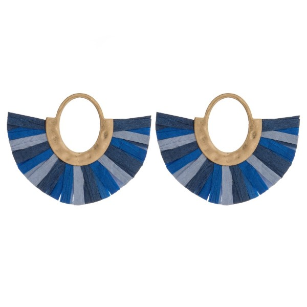 """Gold tone, post style earring with raffia paper fan. Approximately 2"""" in length and 3"""" in width."""