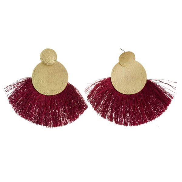 """Matte gold tone post earring with fanned, soft tassel. Approximately 3"""" in length."""