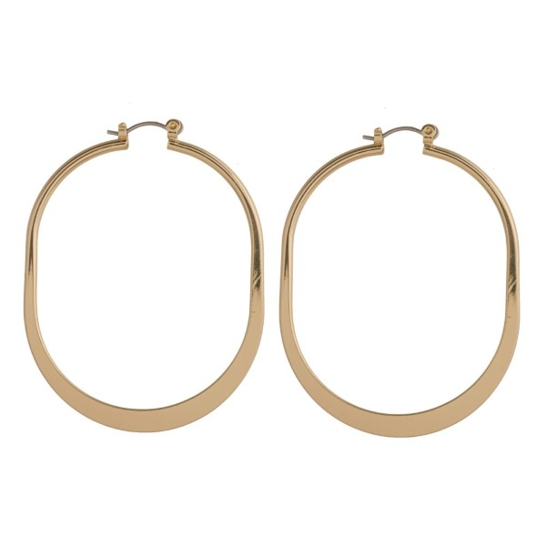 """Metal hoop earring with an oval shape. Approximately 2"""" in length."""
