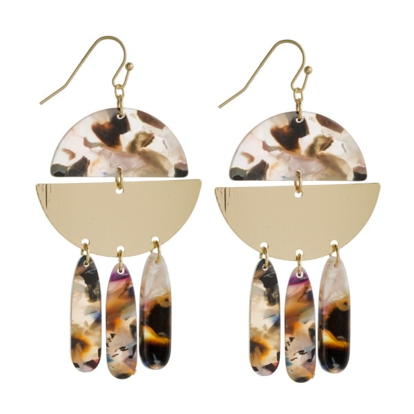"""Gold tone fishhook earring with acetate and metal geometric design. Approximately 2"""" in length."""