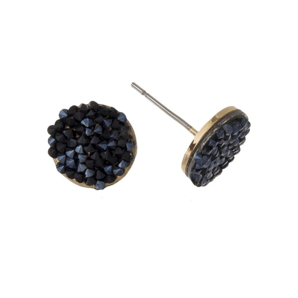 "Druzy stud earring with a circle shape. Approximately 1/4"" in length."