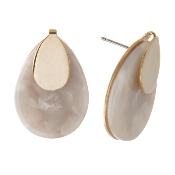 """Gold tone stud earring with acetate teardrop shape. Approximately 1"""" in length."""