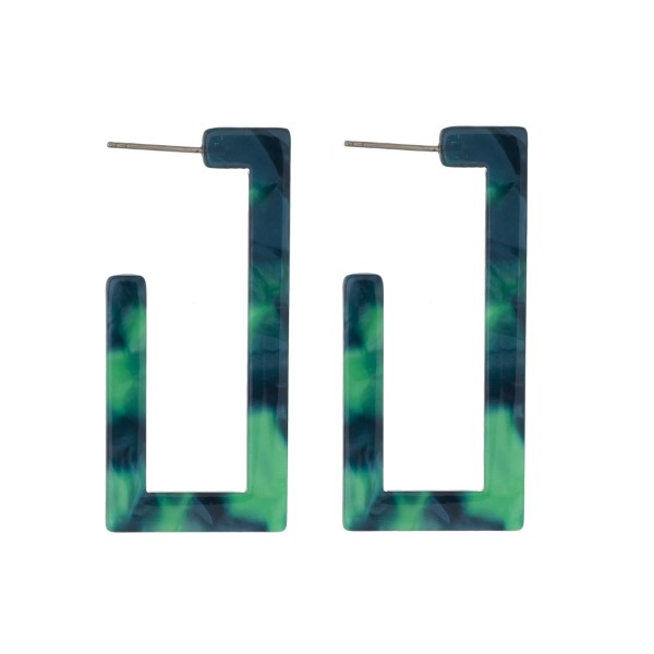 """Stud acetate earrings with a geometric shape. Approximately 2"""" in length."""
