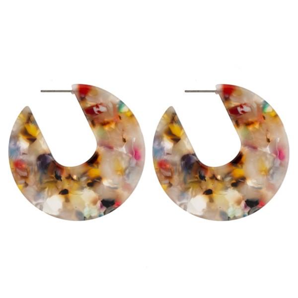 "Stud acetate circle earrings. Approximately 1.75"" in diameter."