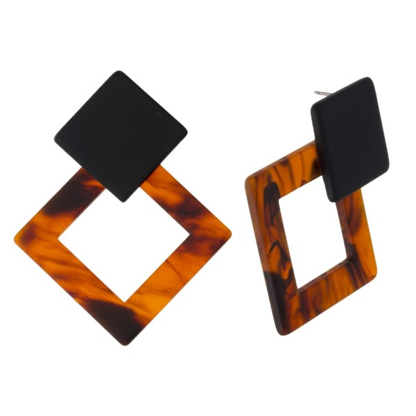 """Acetate stud earring with geometric shape. Approximately 2"""" in length."""