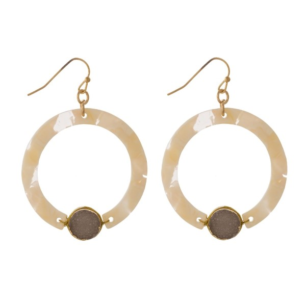 """Metal fishhook earring with acetate circle accented with a druzy charm. Approximately 1.5"""" in diameter."""