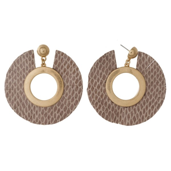 """Gold tone post earring with leather fan. Approximately 2"""" in length."""