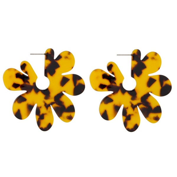 "Stud acetate flower earrings. Approximately 2"" in length."