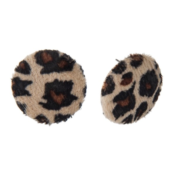 """Gold tone post earring with leopard print button shape. Approximately 1"""" in diameter."""