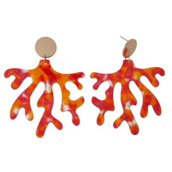 """Gold tone post earring with acetate coral shape. Approximately 2"""" in length."""