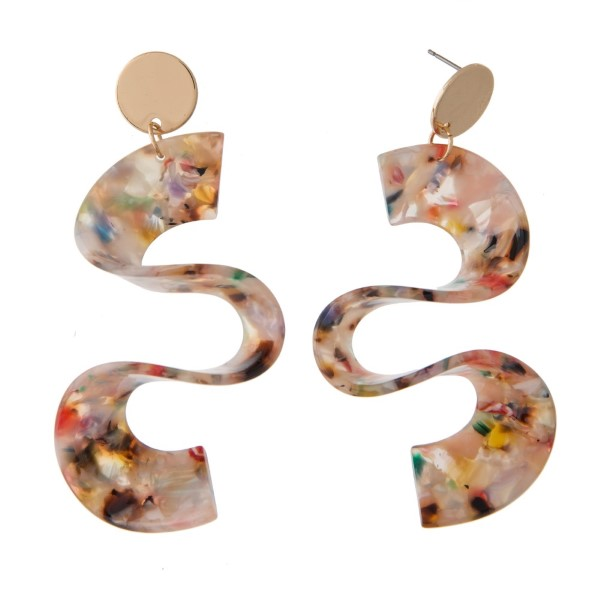 """Gold tone post earring with acetate squiggle shape. Approximately 3"""" in length."""