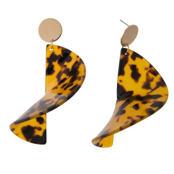 """Gold tone post earring with geometric acetate shape. Approximately 2.5"""" in length."""