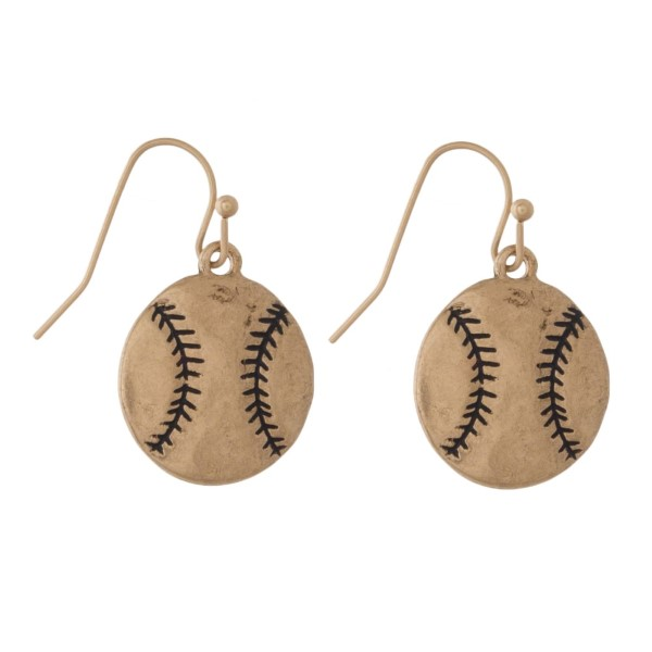 "Metal fishhook earring with baseball shape. Approximately 3/4"" in diameter."