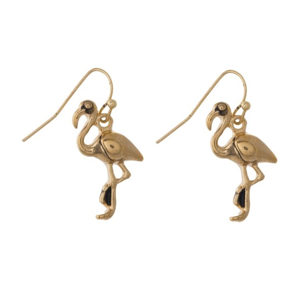 "Metal flamingo earring. Approximately 1"" in length."