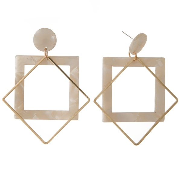 """Acetate stud earring with geometric design. Approximately 2"""" in length."""