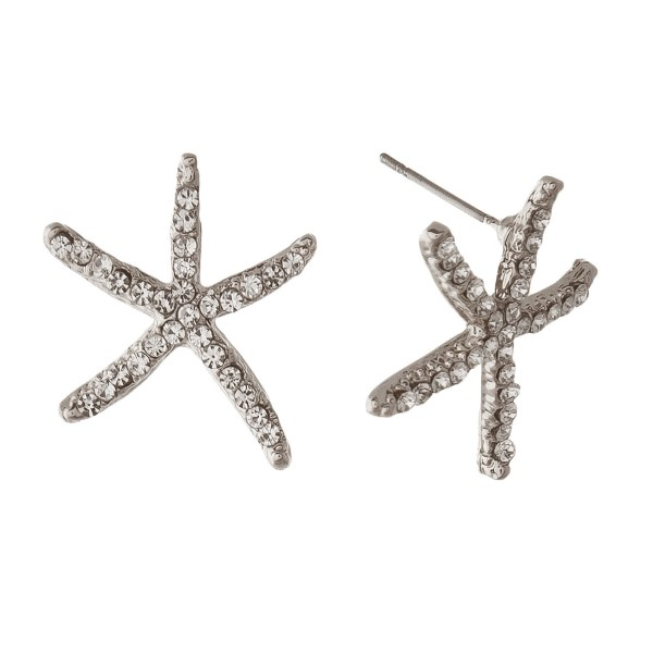 "Metal stud starfish earring with rhinestone accents. Approximately 3/4"" in length."