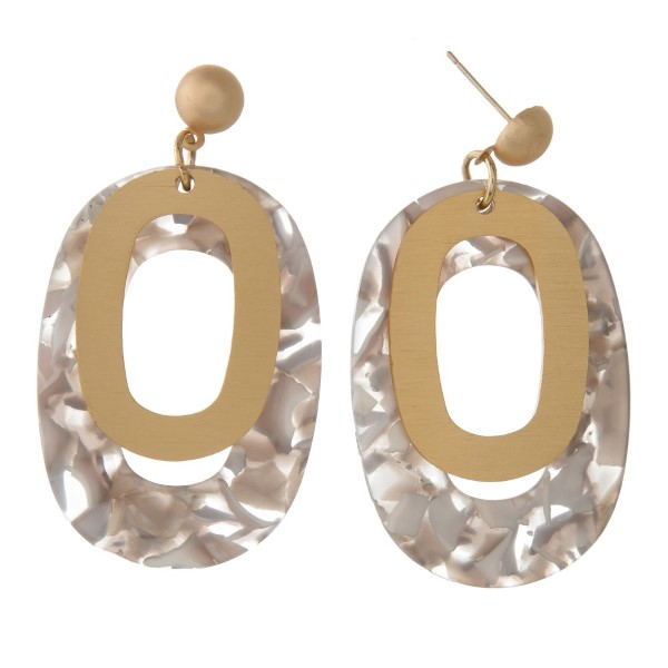 """Gold tone stud earring with acetate oval shape. Approximately 2"""" in length."""