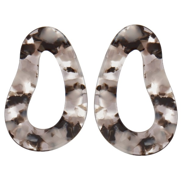 """Stud earring with abstract acetate shape. Approximately 2"""" in length."""