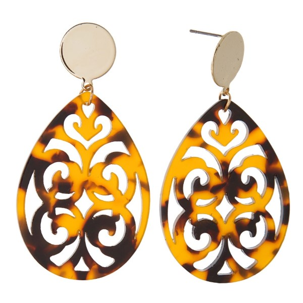 """Gold tone stud earring with filagree acetate teardrop shape. Approximately 2"""" in length."""
