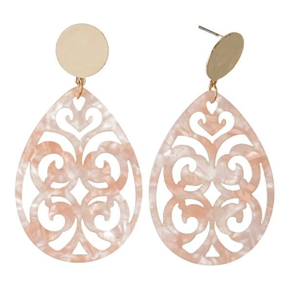 "Gold tone stud earring with filagree acetate teardrop shape. Approximately 2"" in length."