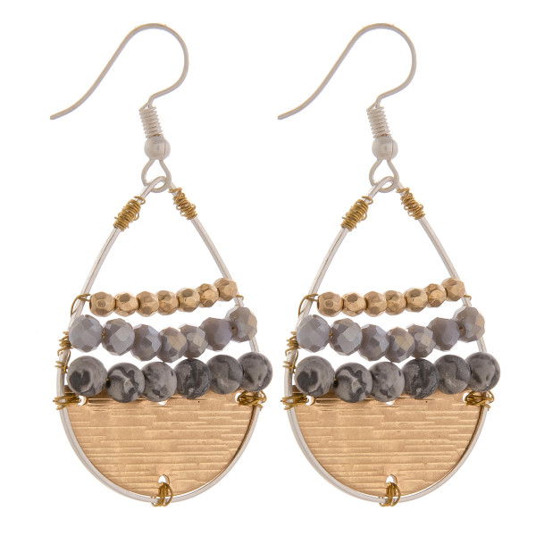 """Long metal drop earrings with beads. Approximate 1.5"""" in length."""