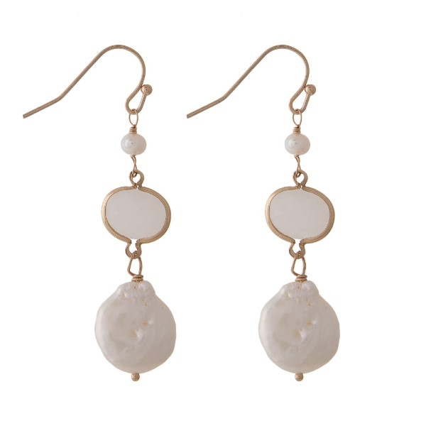 "Metal fishhook earring with fresh water pearl detail and natural stone accent. Approximately 1.5"" in length."