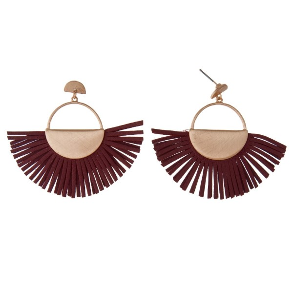 """Gold tone stud earring with faux leather fan. Approximately 2"""" in length."""
