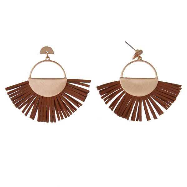 "Gold tone stud earring with faux leather fan. Approximately 2"" in length."