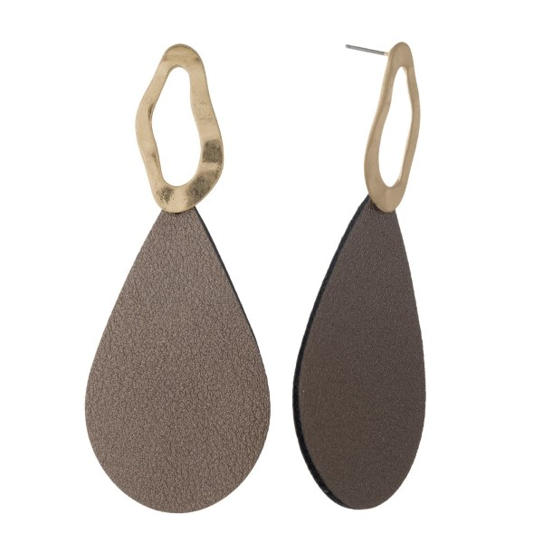 "Gold tone stud earring with faux leather teardrop shape. Approximately 2"" in length."