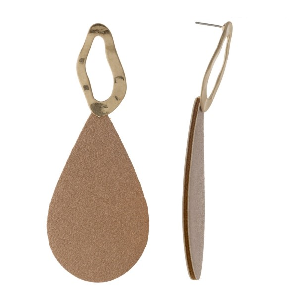 """Gold tone stud earring with faux leather teardrop shape. Approximately 2"""" in length."""