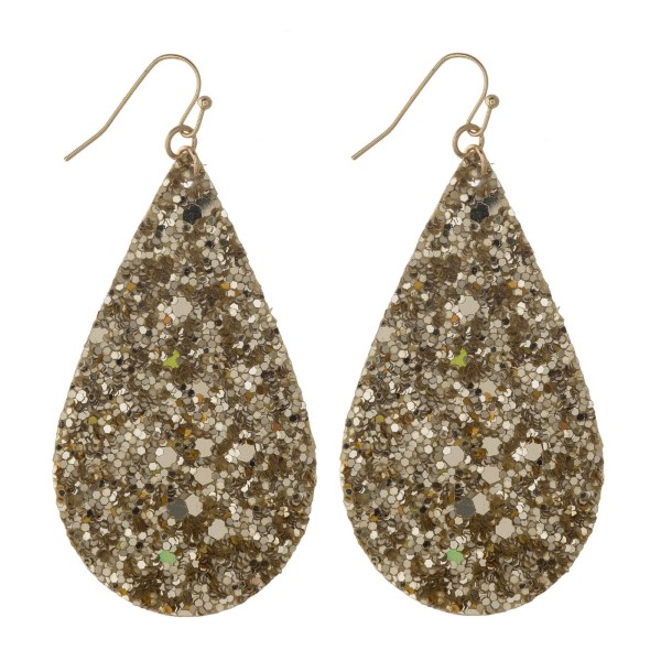 "Gold tone fishhook earring with glitter accented teardrop shape. Approximately 2"" in length."