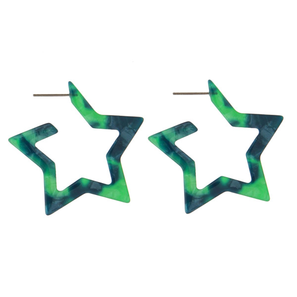 """Acetate star earring. Approximately 1.5"""" in length."""