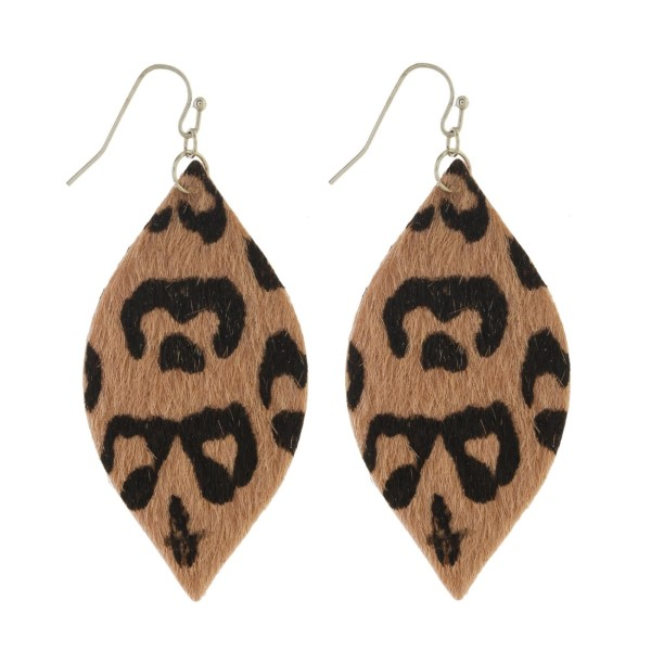 """Long fishhook earrings with oval leopard print design. Approximately 2"""" in length."""