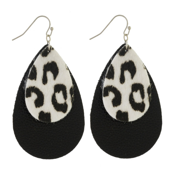 "Fishhook earring with double layered teardrop design. Approximately 2"" in length."