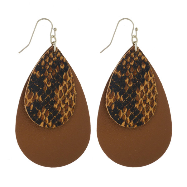 "Fishhook earring with leather layered teardrop design. Approximately 2"" in length."