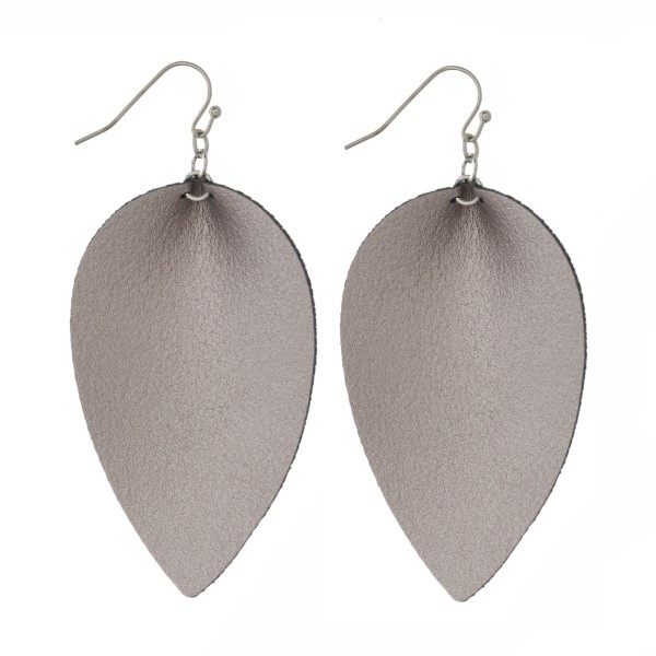 "Fishhook, drop faux leather earrings. Approximately 2"" in length."