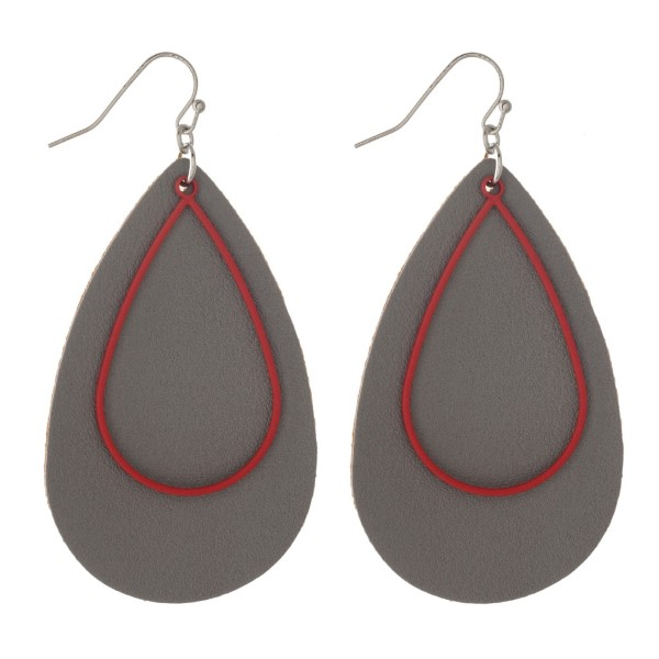 "Faux leather teardrop earring with metal accent. Approximately 2"" in length."