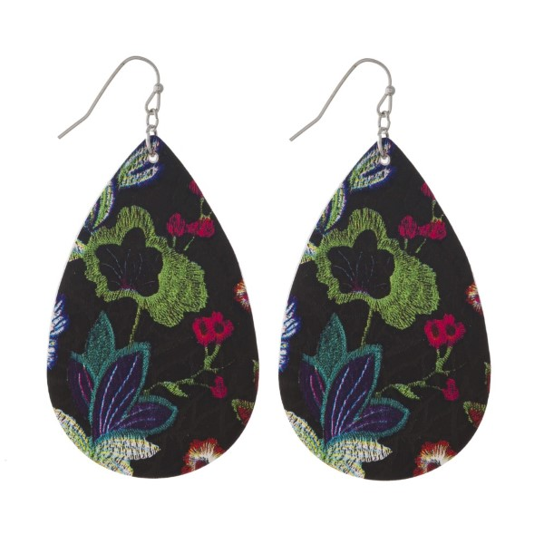 "Fishhook earring with floral printed teardrop shape. Approximately 2"" in length."