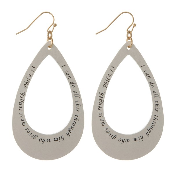 """Long faux leather teardrop earrings printed with Phil 4:13. Approximately 2.5"""" in length."""