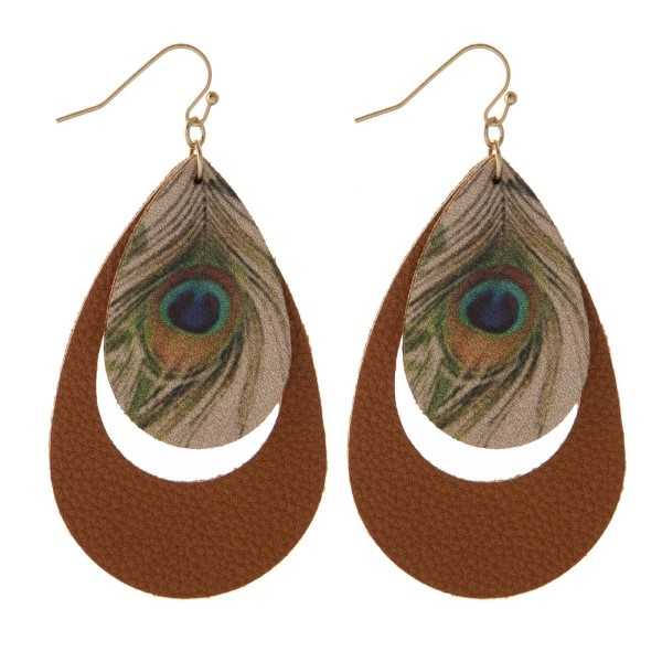 "Long leather teardrop earring with peacock detail. Approximately 2"" in length."