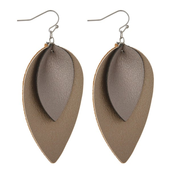 "Faux leather earring with double teardrop shape. Approximately 2"" in length."