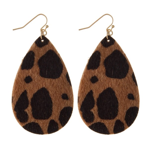 """Gold tone fishhook earring with leopard print. Approximately 2"""" in length."""